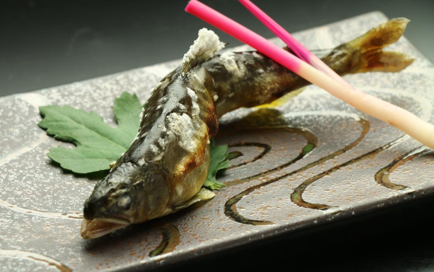夕食 鮎塩焼き