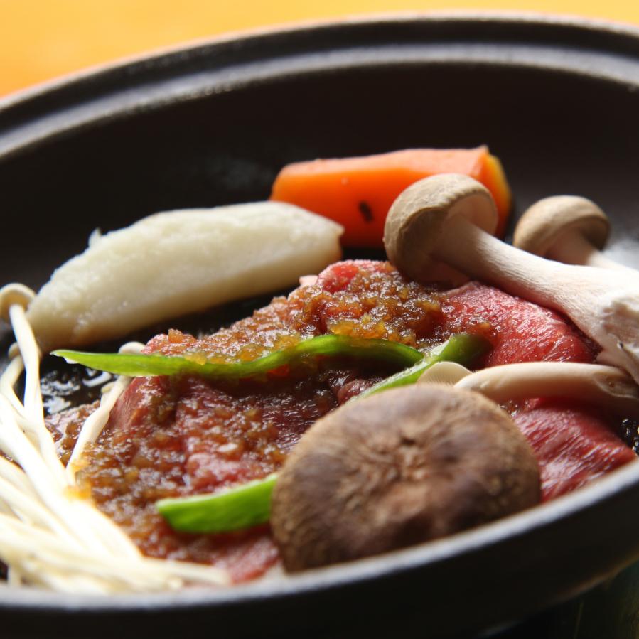 ◆【和牛の陶板おろし醤油がけ】季節の野菜を添えてあつあつをお召し上がりください