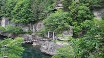 【塔のへつり】河食地形の奇形を呈する好例として国の天然記念物に指定されています