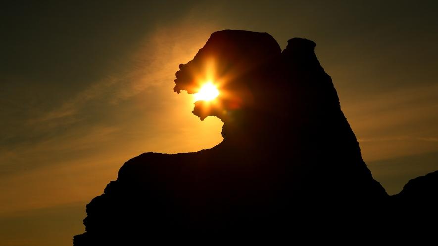 夕日に映えるゴジラ岩