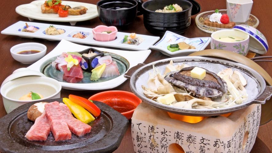 秋田錦牛ステーキ&アワビ陶板付季節の和食膳