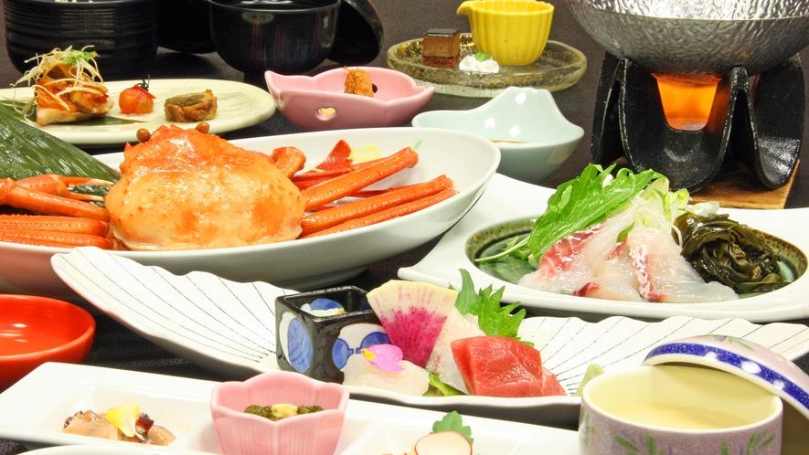 男鹿産紅ズワイガニ&真鯛しゃぶしゃぶ付季節の和食膳