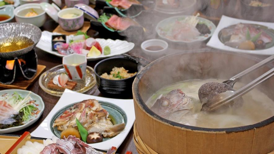鯛まつり~男鹿名物「石焼料理」付、季節の和即膳 ※2人前イメージ