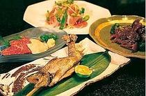 晩霞亭のお料理(一例)。上州の味覚盛りだくさん