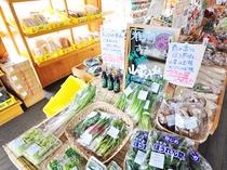 【農産物直売所】旬の食材が所狭しと並びます。