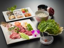 1泊2食付Aプランのご夕食「焼肉&海鮮セット(イメージ)」