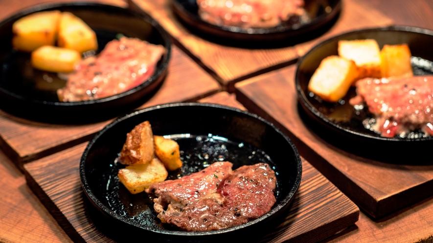 夕食一例 牛肉の鉄板焼き