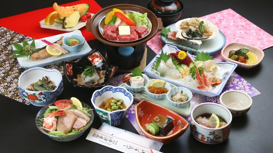 ■ご夕食一例・福島牛コース_風味豊かな福島牛陶板焼きと季節の和食膳