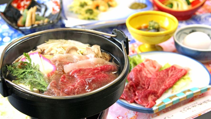 ■ご夕食一例・冬限定 すき焼き_アツアツの特製割り下で福島牛をたっぷり堪能!豊かな風味にあなたも虜。