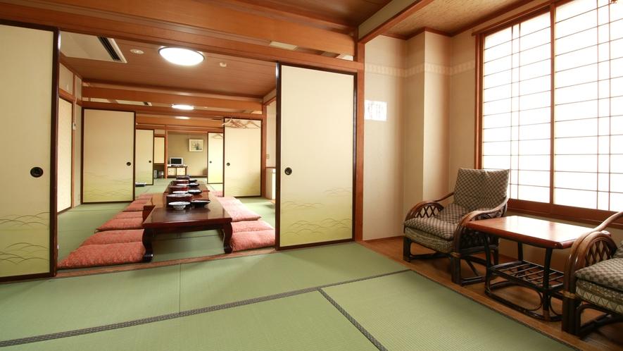 ■客室・4間続き_男女や3世代家族なら、真ん中の部屋を居間、両サイドの客室を寝室に…という使い方も。