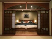 露天付き和洋客室ベッドルーム(225X300)