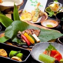 昼食プラン 国産牛朴葉焼きのミニ懐石コース
