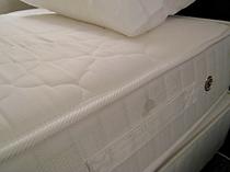 お部屋のベッドは「サータ社」仕様♪
