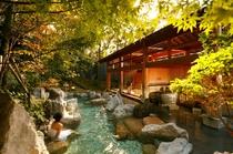 大浴場:岩露天風呂】豊かな自然に囲まれた開放感溢れる露天風呂