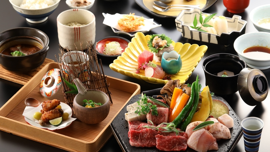 【ご夕食メイン】国産牛肉・豚肉の溶岩焼がメインの和食会席