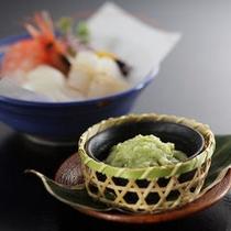【夕食】塩麹わさびとお刺身