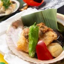 【奉書焼き】トロ赤魚、帆立貝、獅子唐、十全茄子、南蛮味噌★『弥彦ごっつぉ』