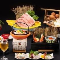 村上牛肉すき焼きとあわびの奉書焼き★「茜の宴」