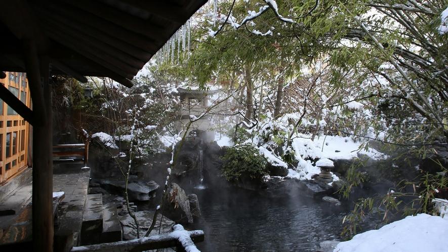 【庭園露天風呂】情緒満点の雪見風呂
