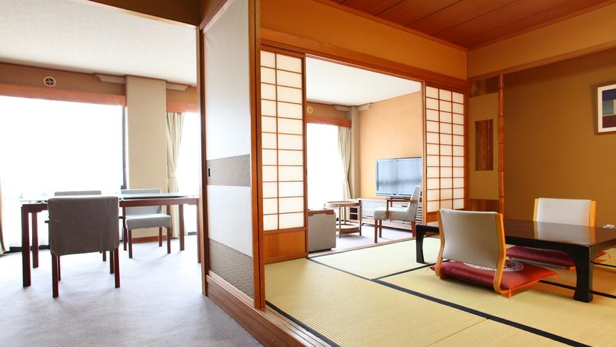 【8畳+リビング付】8畳の和室にリビングルームを備えたお部屋です。