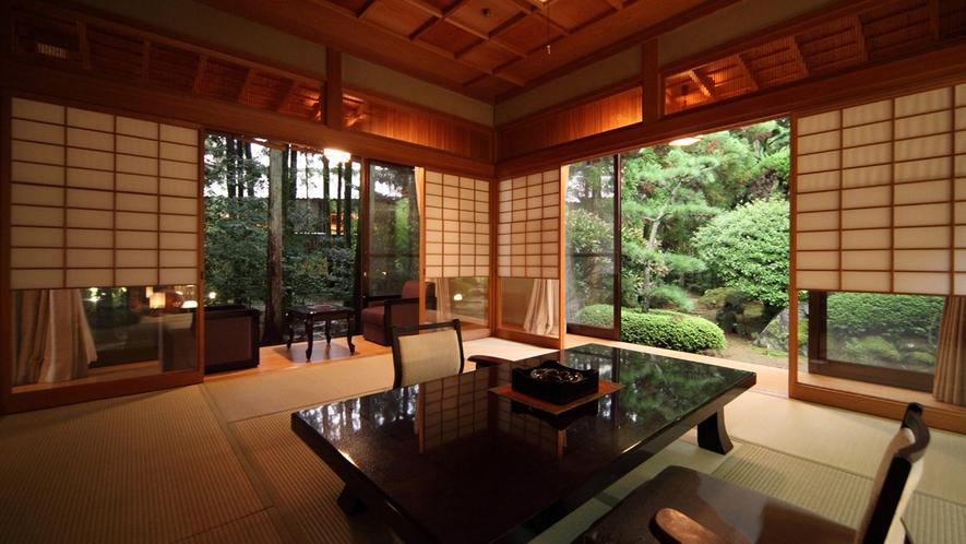 【翠月/梅】翠月の中で最も広いお部屋で、部屋からの庭の眺めも素晴らしい