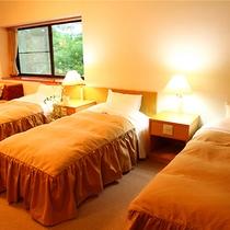 【グループ(4ベッド)ルーム】3〜4名様まで宿泊可能。白樺湖が望めるバルコニー付き