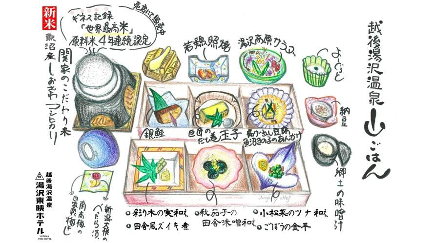 【郷土の味覚】越後湯沢温泉山ごはん(一例)