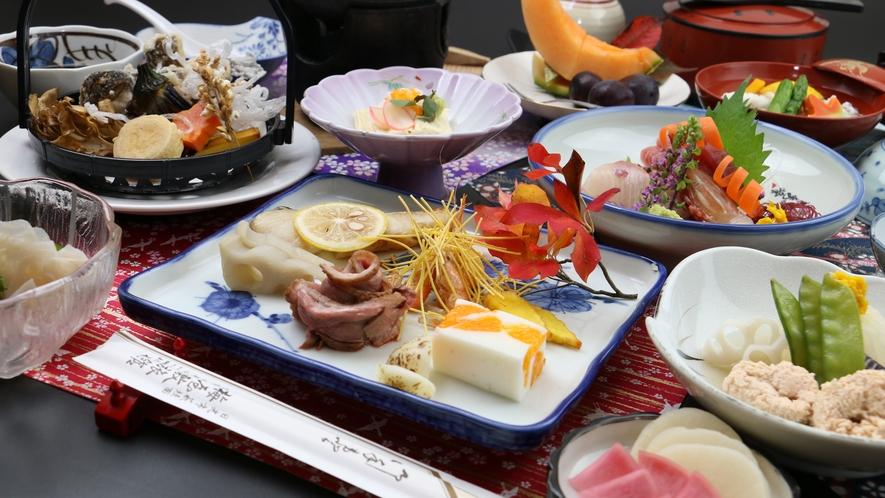 【ご夕食一例・グレードアップ】日光名物の湯波をふんだんに使った料理と地元の旬の素材を使った四季折々の