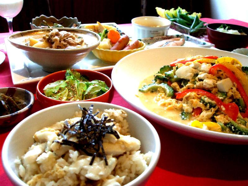 苦瓜ゴーヤチャンプルー、夏エンドウのおひたし、鯛の炊込みご飯、他