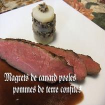 鴨胸肉のポアレ、ジャガイモのコンフィ