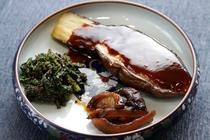 茄子の味噌かけ/青菜の胡麻和え/椎茸の甘煮