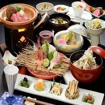月岡ホテルのスタンダード料理「山形牛の陶板焼き会席膳」