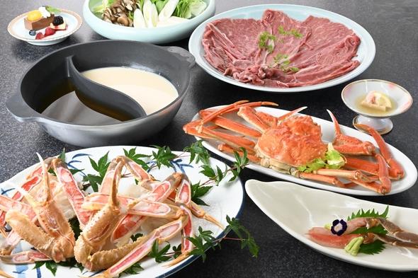 ◆北洋産ずわいがにと但馬牛のW鍋コース◆《蟹合計約1.75杯相当》冬の2大食材の饗宴