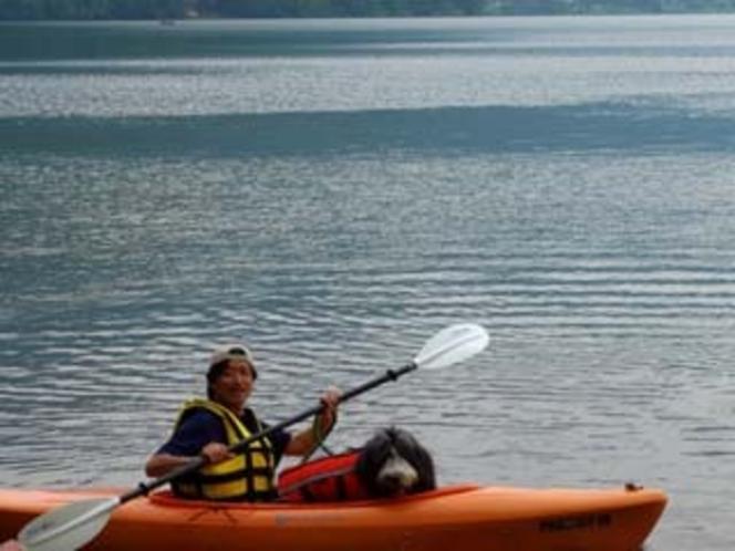 木崎湖でカヌー