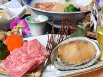 メインのお料理は「千屋牛とアワビの石焼き」「千屋牛」神戸牛にも負けないクオリティーを持つ肉質です