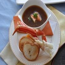 蟹を味わうスープ