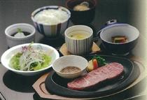 ステーキ御膳(一階レストラン芝井川メニュー)