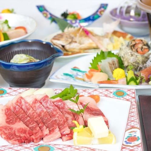 *お食事一例/ジューシーな山形牛をステーキでお楽しみ下さい。