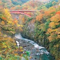 *梵字川渓谷/四季折々、美しい景観が広がる渓谷。当館よりお車で約30分
