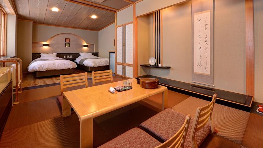 *【客室一例(和洋室)】シモンズ社製のベッドでゆっくりとお休みいただけます。