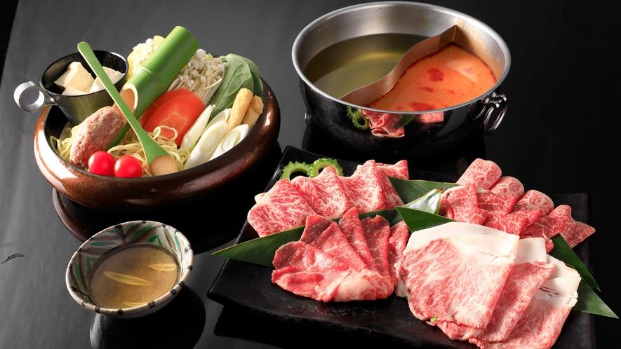 夕食:グリルダイニング_スープしゃぶしゃぶ(沖縄県産黒毛和牛盛合せ)