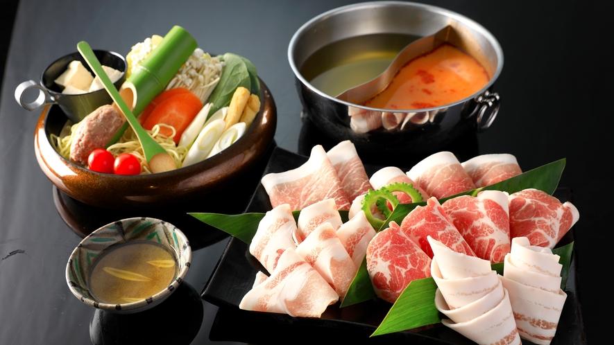 食事:夕食_グリルダイニング_スープしゃぶしゃぶ(あぐー豚盛合せ)