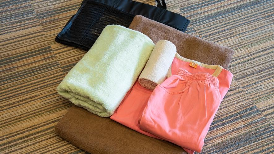 *【岩盤浴セット】岩盤浴に必要なタオル・服もご用意しております。