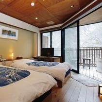 【温泉露天風呂付き和洋室 ひうち】和室4.5畳+ツインベット
