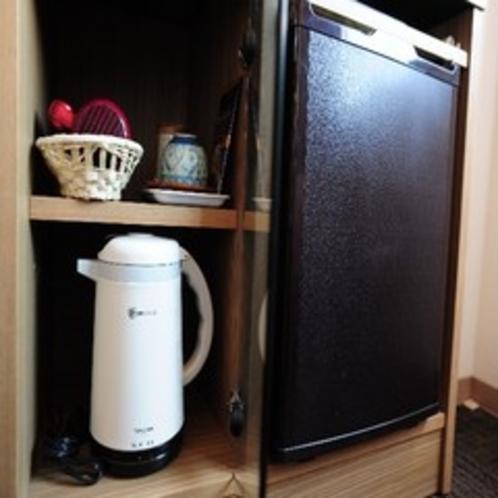 冷蔵庫・お茶セット・ドライヤー