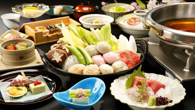 【ご夕食:花鳥】四季折々の食材を活かした四季彩鍋がメインの和食会席。