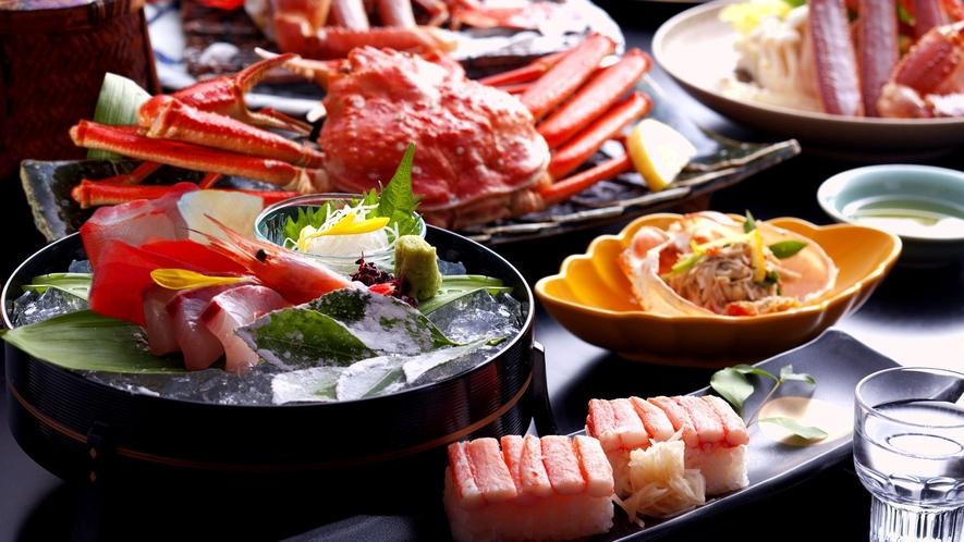 【蟹づくしイメージ】丸ごと蟹、蟹すき鍋、焼き蟹、天婦羅、押し寿司ほか、1人2,5杯相当の蟹を使用!
