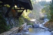 【朝陽さしこむ川風呂】