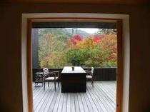 箱根小涌谷渓谷の澄んだ空と紅葉の森を独占できる、和モダンスイートルームの広々テラス