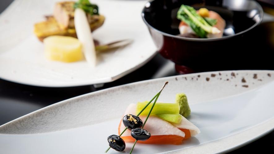 和食会席~葵~(2021年1・2月 日本料理)八潮鱒と白あすぱらの山葵酢掛け